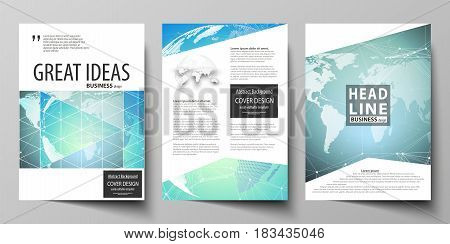 The vector illustration of the editable layout of three A4 format modern covers design templates for brochure, magazine, flyer, booklet. Chemistry pattern, molecule structure, geometric design background.