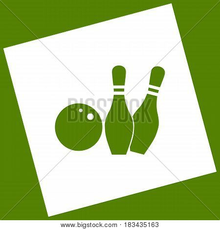 Bowling sign illustration. Vector. White icon obtained as a result of subtraction rotated square and path. Avocado background.