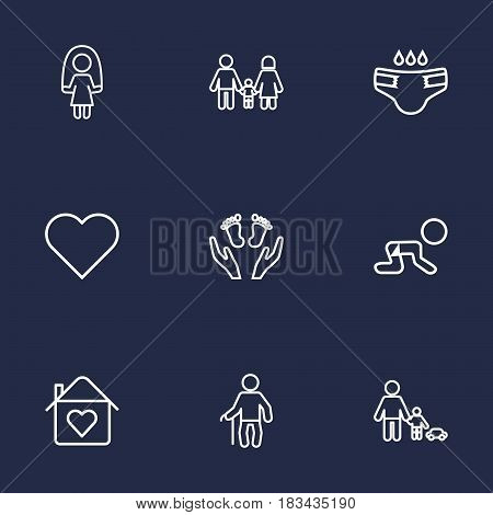 Set Of 9 Relatives Outline Icons Set.Collection Of Care, Playing, Grandfather Elements.