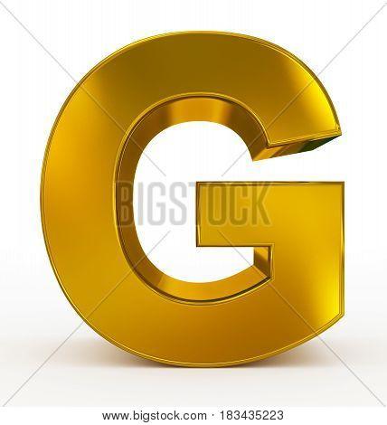 Letter G 3D Golden Isolated On White