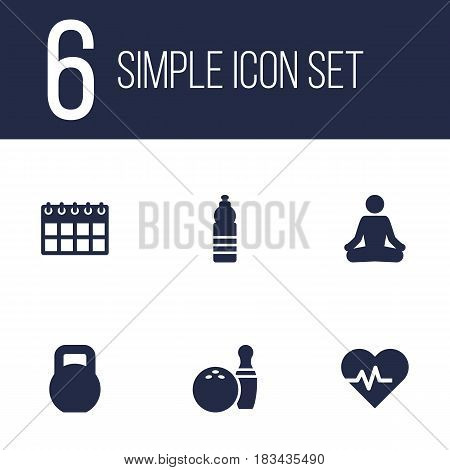 Set Of 6 Bodybuilding Icons Set.Collection Of Date, Kegling, Meditate And Other Elements.