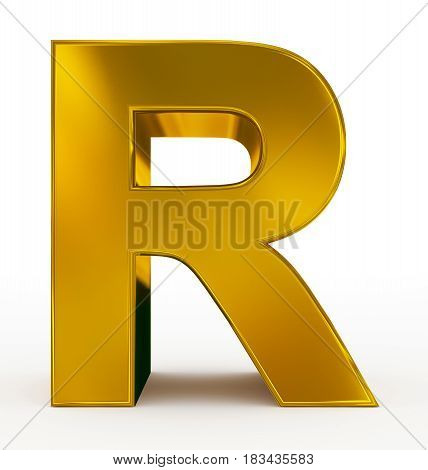 Letter R 3D Golden Isolated On White
