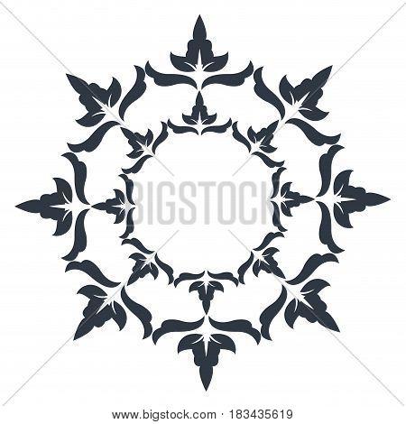 round decorative frame flourish calligraphy monochrome vector illustration