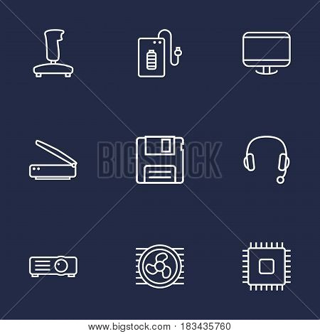 Set Of 9 Computer Outline Icons Set.Collection Of Cpu, Floppy, Powerbank And Other Elements.