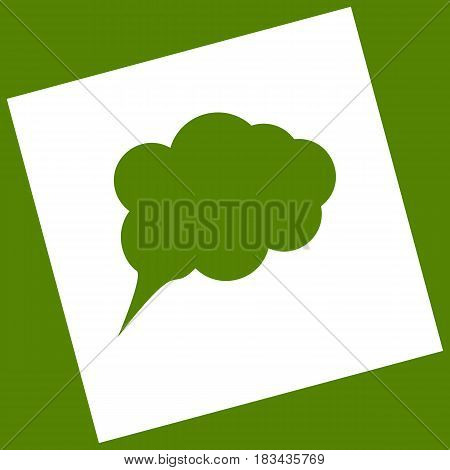 Speach bubble sign illustration. Vector. White icon obtained as a result of subtraction rotated square and path. Avocado background.