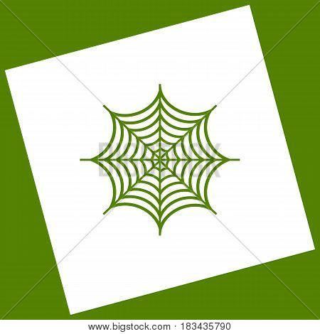 Spider on web illustration. Vector. White icon obtained as a result of subtraction rotated square and path. Avocado background.