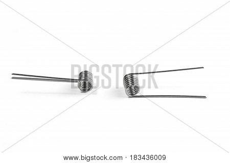 Two Coils Are Opposite Each Other Isolated On White Background
