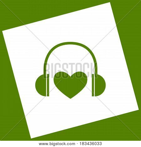 Headphones with heart. Vector. White icon obtained as a result of subtraction rotated square and path. Avocado background.