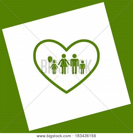 Family sign illustration in heart shape. Vector. White icon obtained as a result of subtraction rotated square and path. Avocado background.