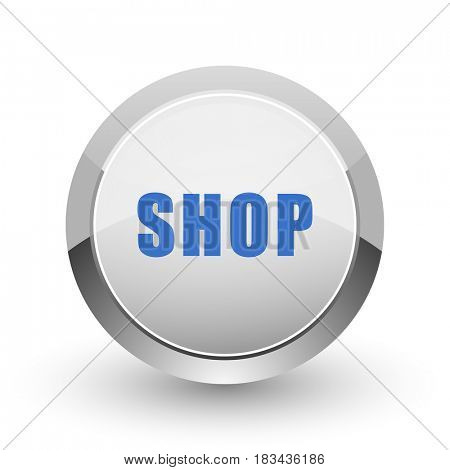 Shop chrome border web and smartphone apps design round glossy icon.