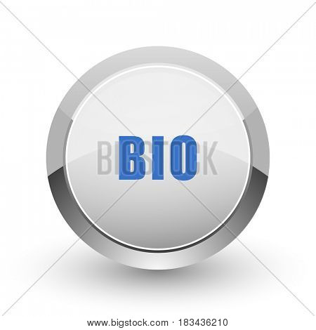 Bio chrome border web and smartphone apps design round glossy icon.