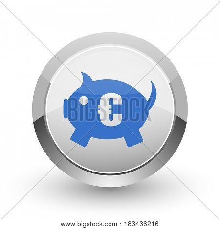 Piggy bank chrome border web and smartphone apps design round glossy icon.