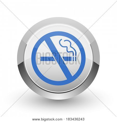 No smoking chrome border web and smartphone apps design round glossy icon.