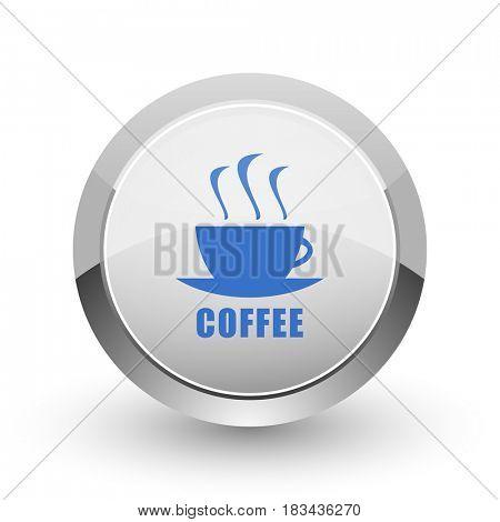 Espresso chrome border web and smartphone apps design round glossy icon.
