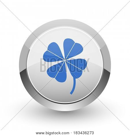 Four-leaf clover chrome border web and smartphone apps design round glossy icon.