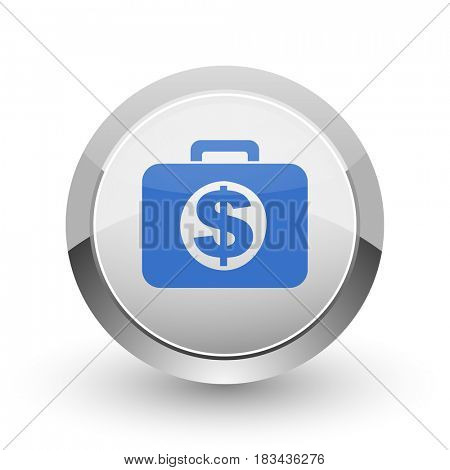 Financial chrome border web and smartphone apps design round glossy icon.