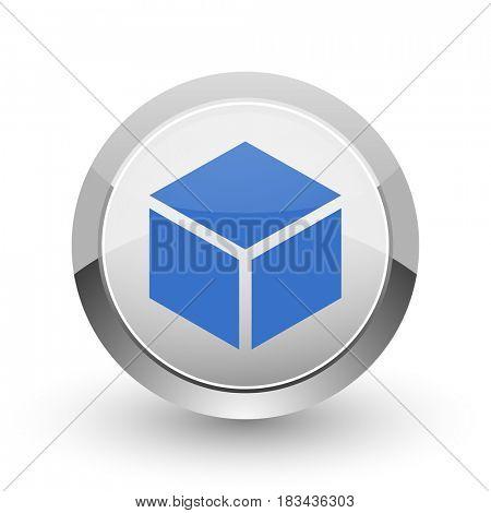 Box chrome border web and smartphone apps design round glossy icon.