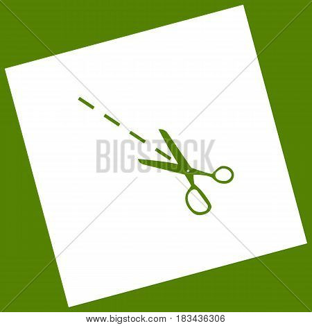 Scissors sign illustration. Vector. White icon obtained as a result of subtraction rotated square and path. Avocado background.