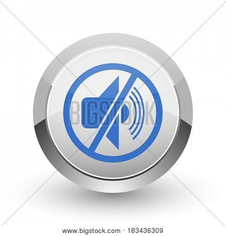 Mute chrome border web and smartphone apps design round glossy icon.