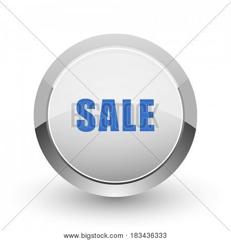 Sale chrome border web and smartphone apps design round glossy icon.