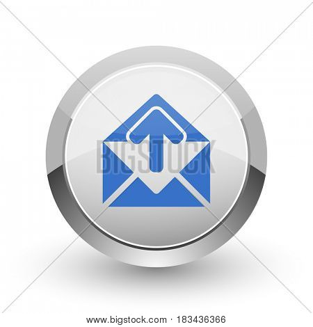 Email chrome border web and smartphone apps design round glossy icon.
