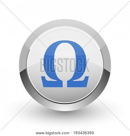 Omega chrome border web and smartphone apps design round glossy icon.