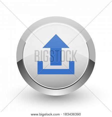 Upload chrome border web and smartphone apps design round glossy icon.