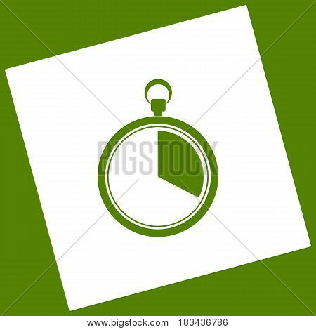 The 20 seconds, minutes stopwatch sign. Vector. White icon obtained as a result of subtraction rotated square and path. Avocado background.