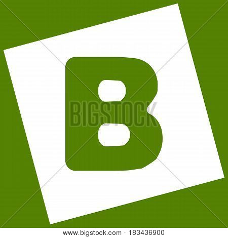 Letter B sign design template element. Vector. White icon obtained as a result of subtraction rotated square and path. Avocado background.