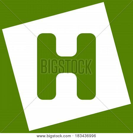 Letter H sign design template element. Vector. White icon obtained as a result of subtraction rotated square and path. Avocado background.