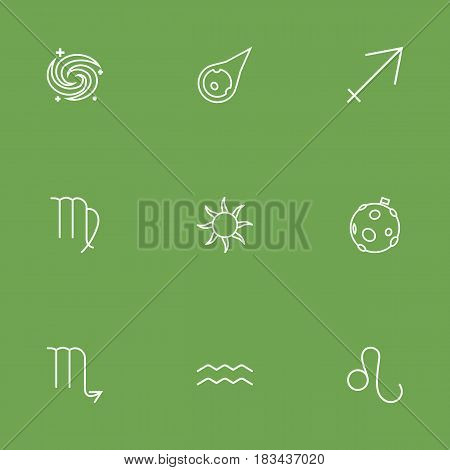 Set Of 9 Galaxy Outline Icons Set.Collection Of Moon, Sun, Scorpion And Other Elements.