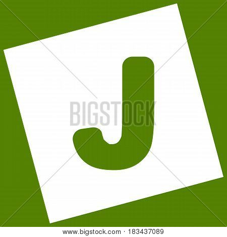 Letter J sign design template element. Vector. White icon obtained as a result of subtraction rotated square and path. Avocado background.