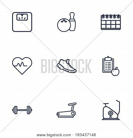 Set Of 9 Fitness Outline Icons Set.Collection Of Bowling, Exercise Bike, Calendar And Other Elements.