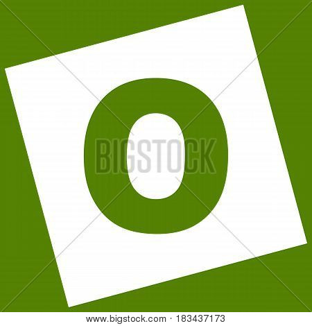 Letter O sign design template element. Vector. White icon obtained as a result of subtraction rotated square and path. Avocado background.