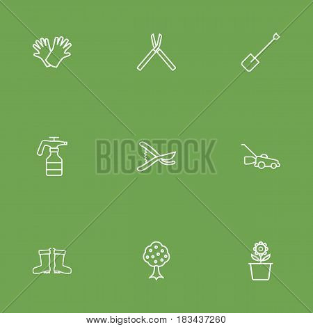 Set Of 9 Farm Outline Icons Set.Collection Of Garden, Safer Of Hand , Secateurs Elements.