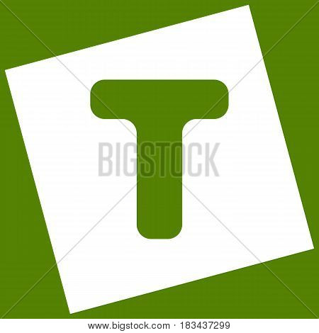 Letter T sign design template element. Vector. White icon obtained as a result of subtraction rotated square and path. Avocado background.
