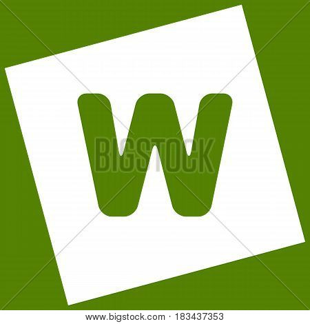 Letter W sign design template element. Vector. White icon obtained as a result of subtraction rotated square and path. Avocado background.