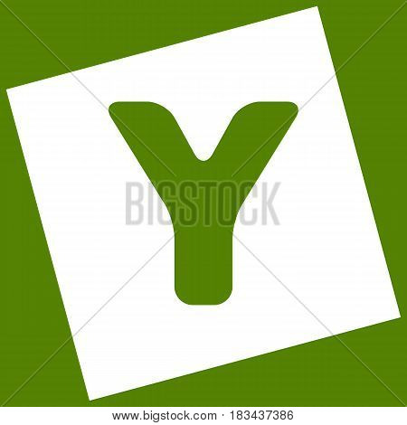 Letter Y sign design template element. Vector. White icon obtained as a result of subtraction rotated square and path. Avocado background.