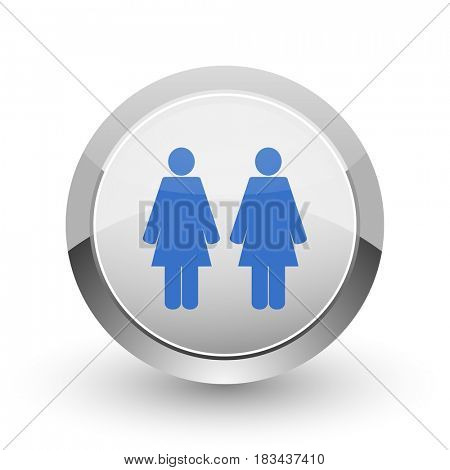 Couple chrome border web and smartphone apps design round glossy icon.
