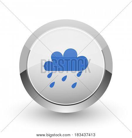 Rain chrome border web and smartphone apps design round glossy icon.