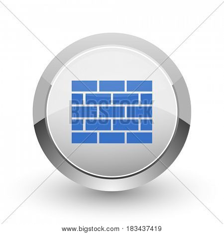 Firewall chrome border web and smartphone apps design round glossy icon.