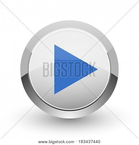 Play chrome border web and smartphone apps design round glossy icon.