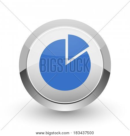 Chart chrome border web and smartphone apps design round glossy icon.