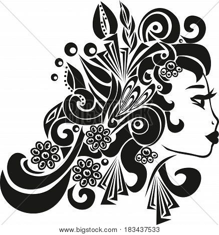 women profile, the girl of the Spanish nationality, beautiful jewelry on the head, a vector illustration of the woman, chubby lips, black color,