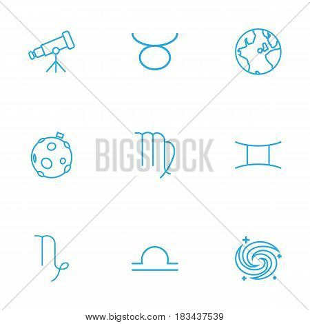Set Of 9 Galaxy Outline Icons Set.Collection Of Galaxy, Telescope, Gemini And Other Elements.