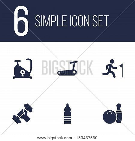 Set Of 6 Training Icons Set.Collection Of Training Bicycle, Running, Kegling And Other Elements.