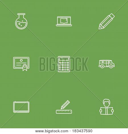 Set Of 9 Education Outline Icons Set.Collection Of Learning, Pencil, Laptop And Other Elements.
