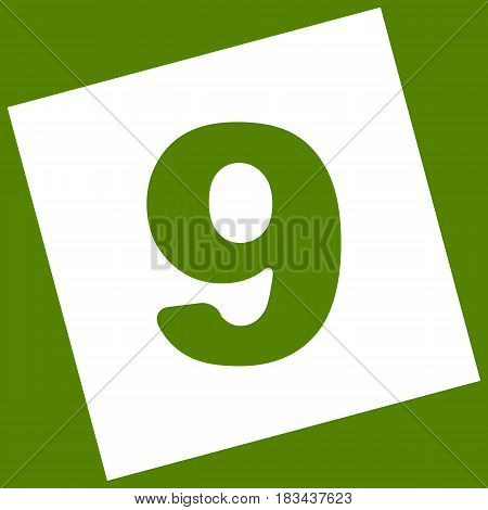 Number 9 sign design template element. Vector. White icon obtained as a result of subtraction rotated square and path. Avocado background.