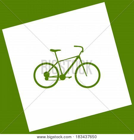 Bicycle, Bike sign. Vector. White icon obtained as a result of subtraction rotated square and path. Avocado background.