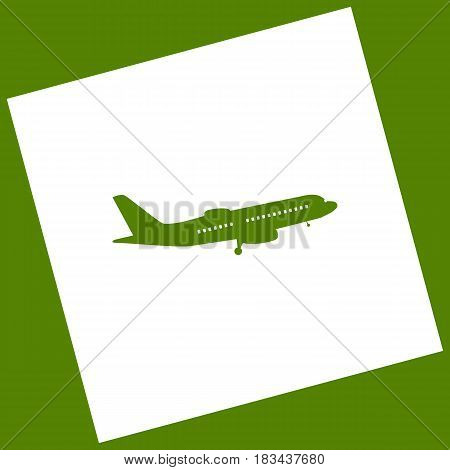 Flying Plane sign. Side view. Vector. White icon obtained as a result of subtraction rotated square and path. Avocado background.